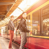 Casual young couple waiting the train in berlin