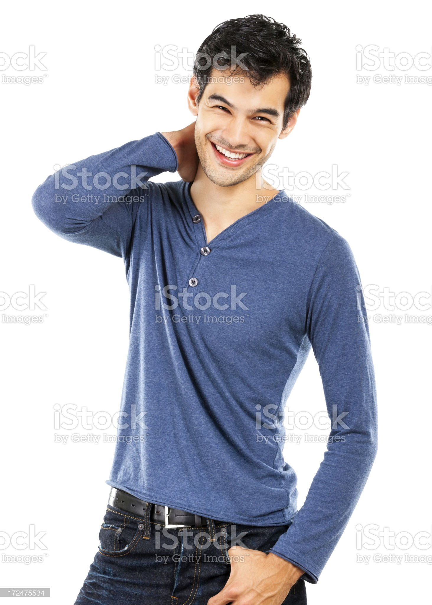 Casual Young Man Smiling (Isolated on White) royalty-free stock photo