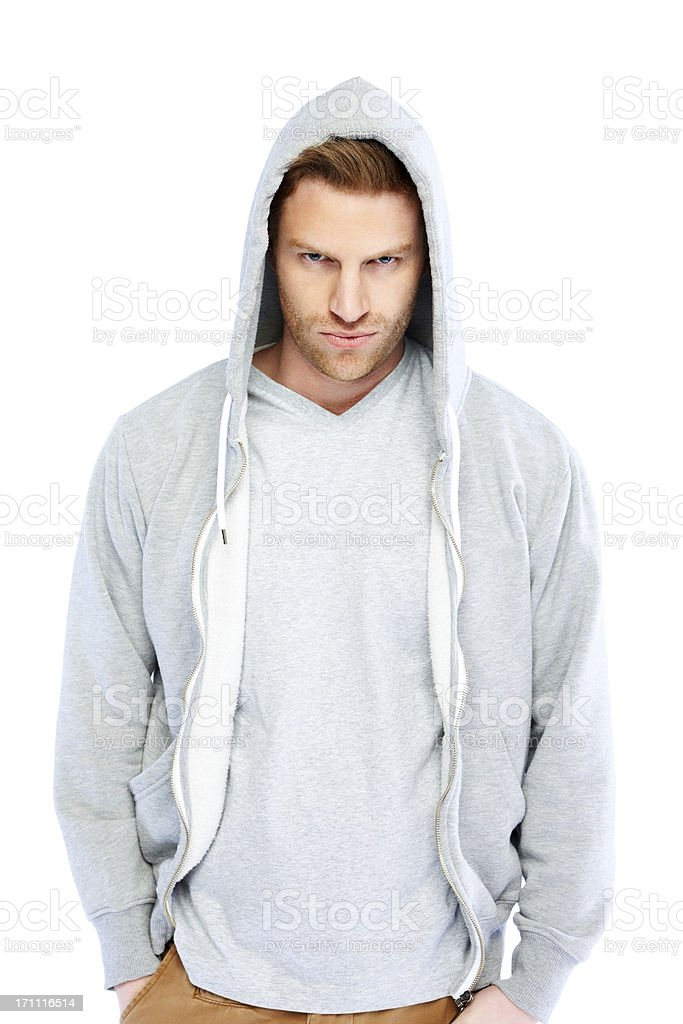 Casual young man wearing sweatshirt with hood royalty-free stock photo