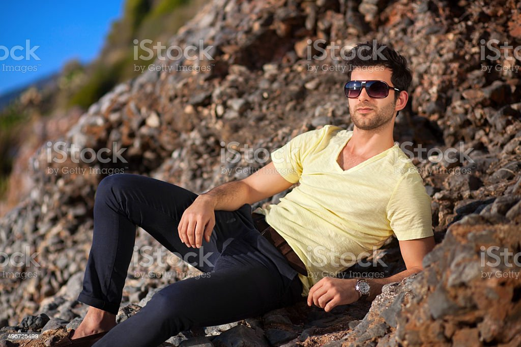 Casual young man with sunglasses royalty-free stock photo