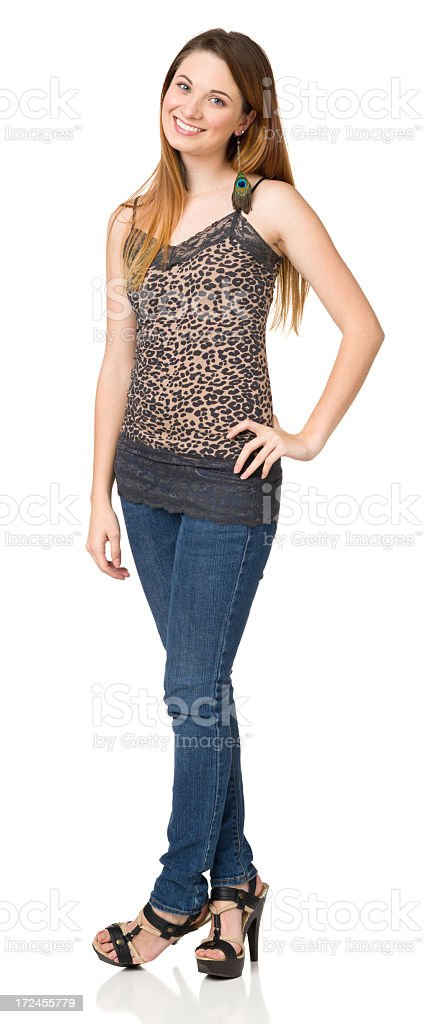 Casual Young Woman Full Length Portrait stock photo