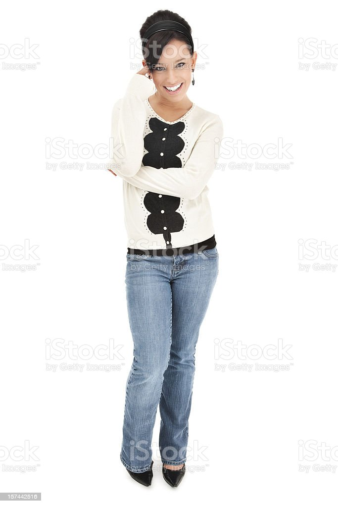 Casual Young Woman in Sweater and Jeans royalty-free stock photo
