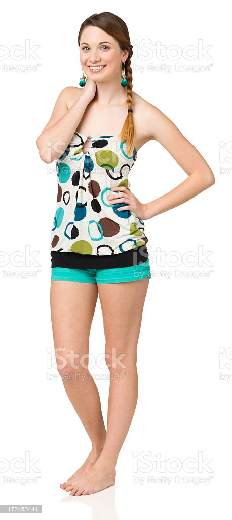 Casual Young Woman Relaxed Standing Portrait royalty-free stock photo
