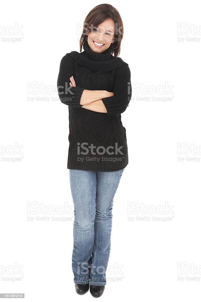 Casual Young Woman with A Friendly Smile stock photo