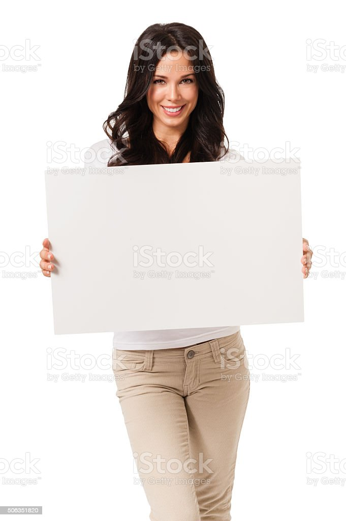 Casual Young Woman with Blank  Sign on White stock photo