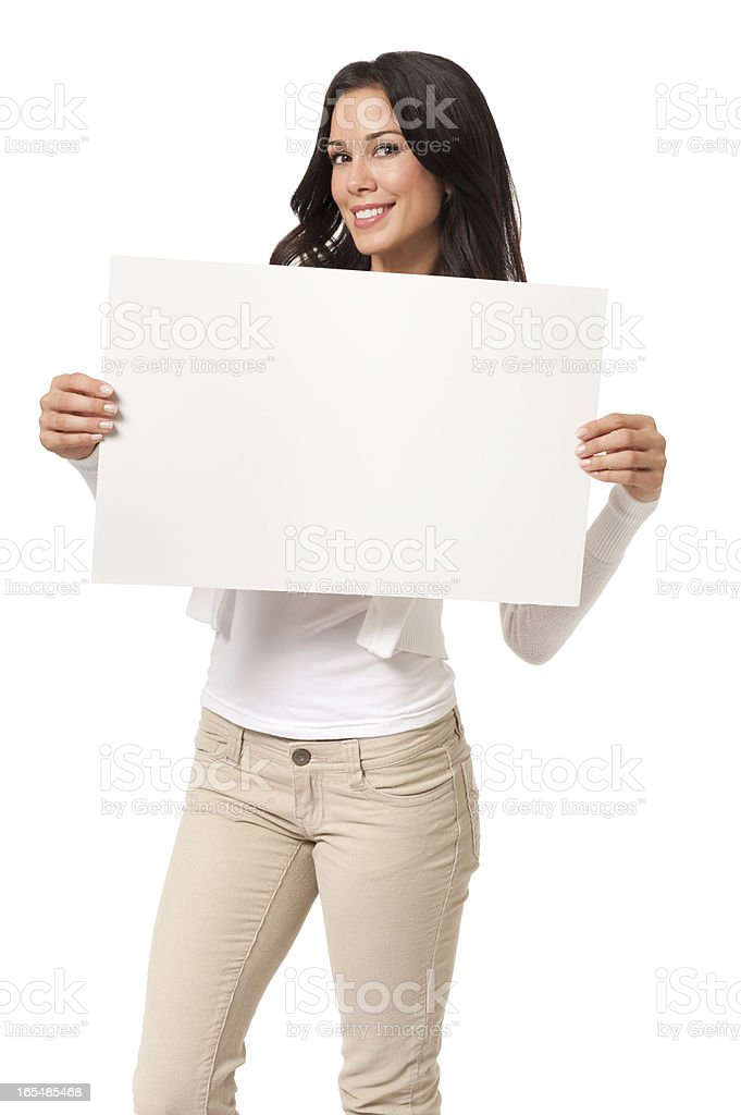 Casual Young Woman with Sign Isolated on White Background stock photo