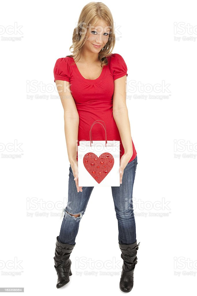 Casual Young Woman with Valentine Gift Bag royalty-free stock photo