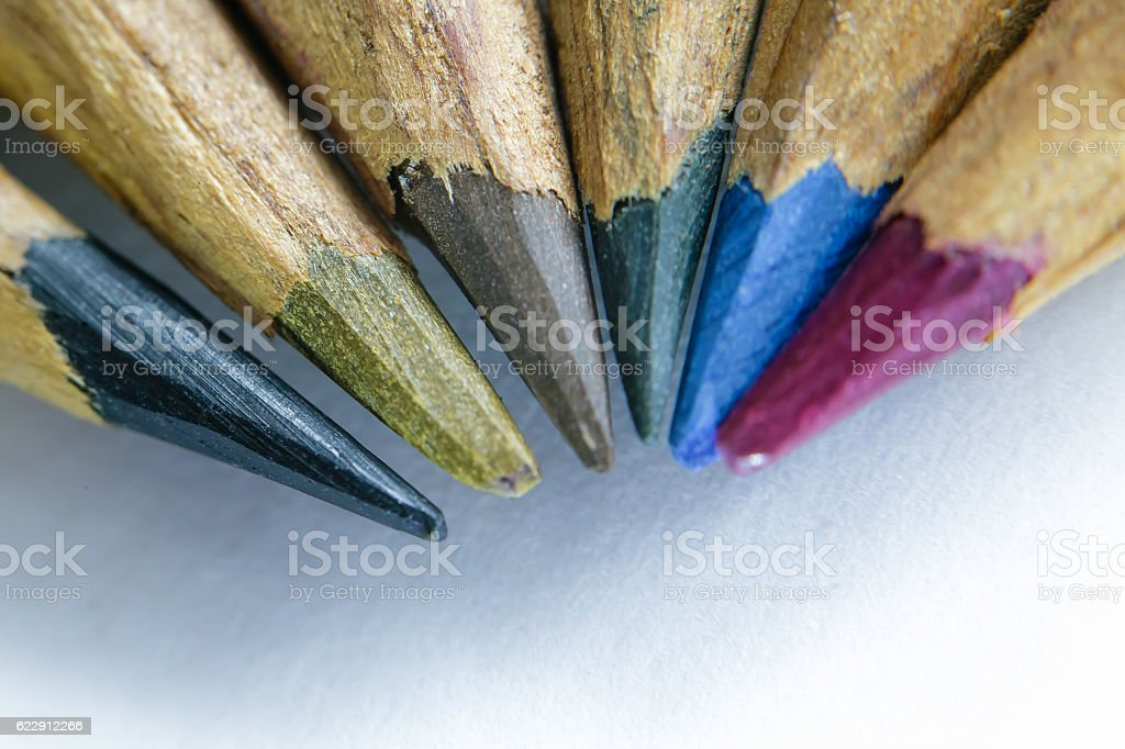 Casually knife sharpened colored pencils stock photo