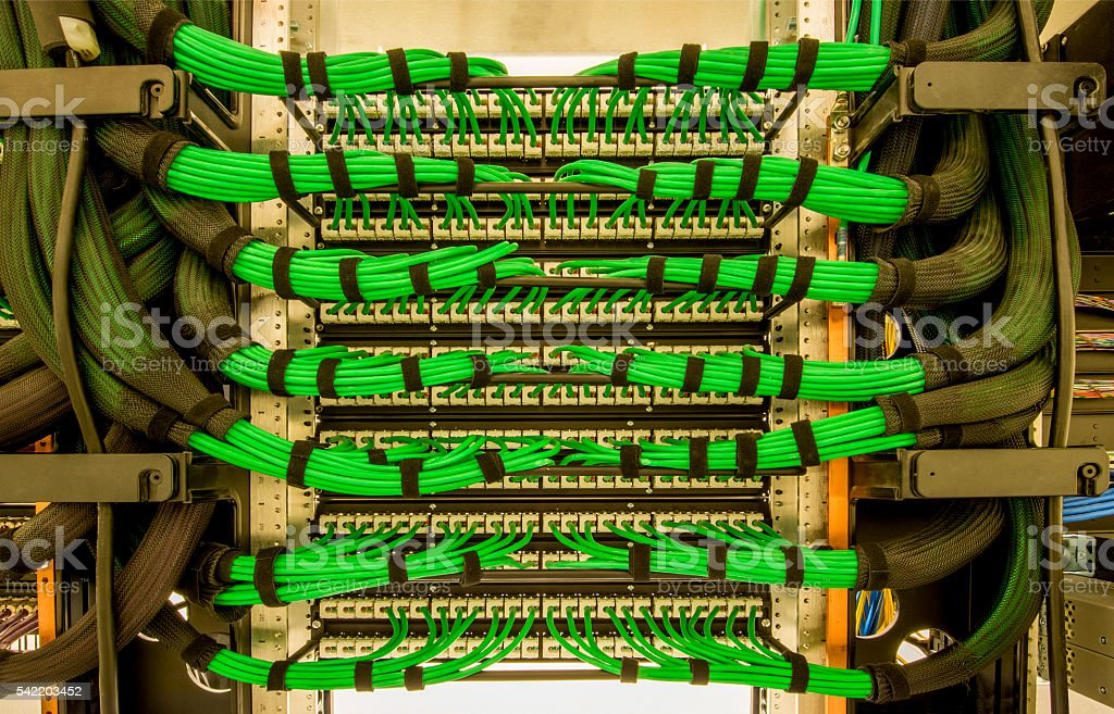 Cat 6 Server Wiring stock photo