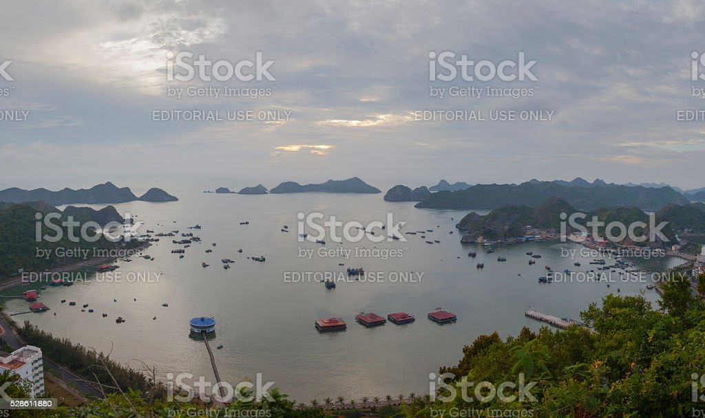 Cat Ba town panoramic view stock photo