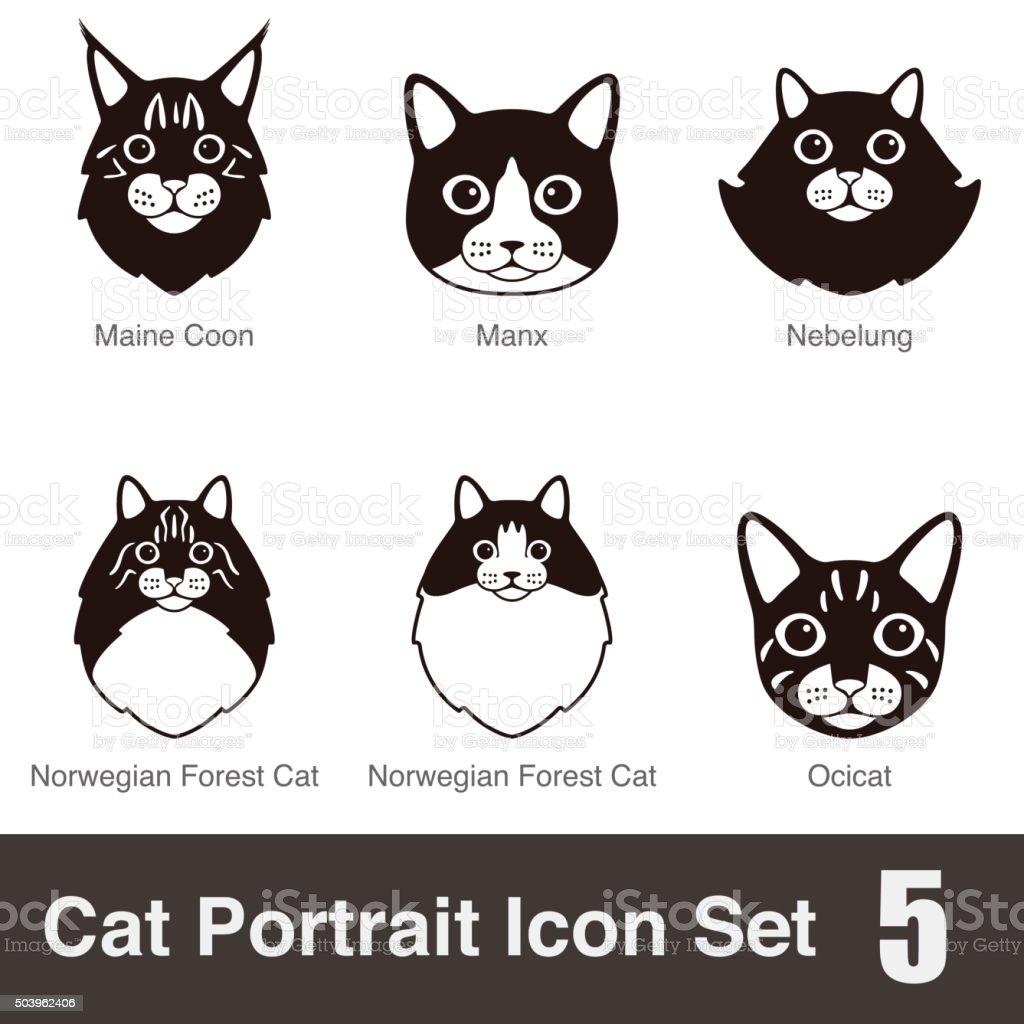 Cat breed face cartoon flat icon series stock photo