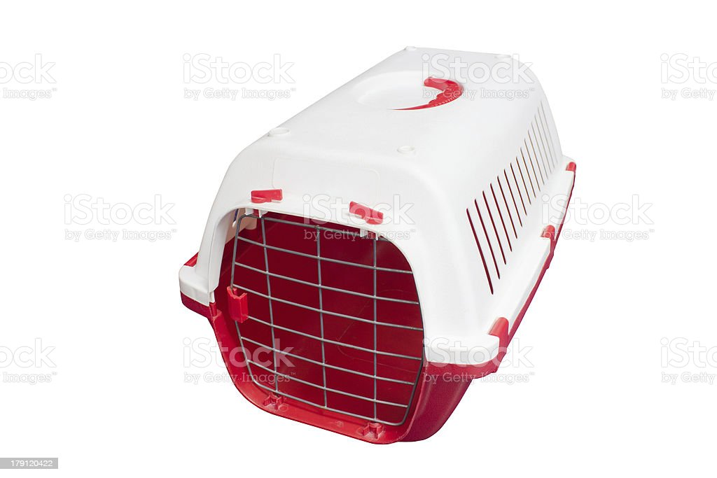 Cat carrier for travelling isolated on white. royalty-free stock photo