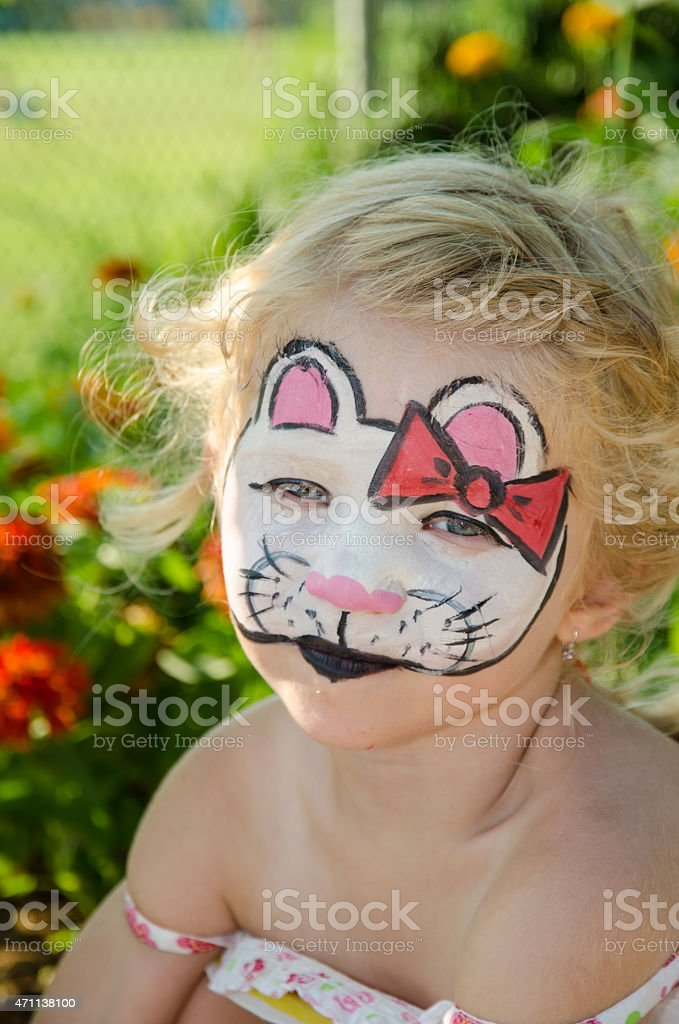 cat face painting stock photo