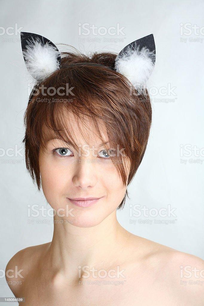 Cat girl stock photo