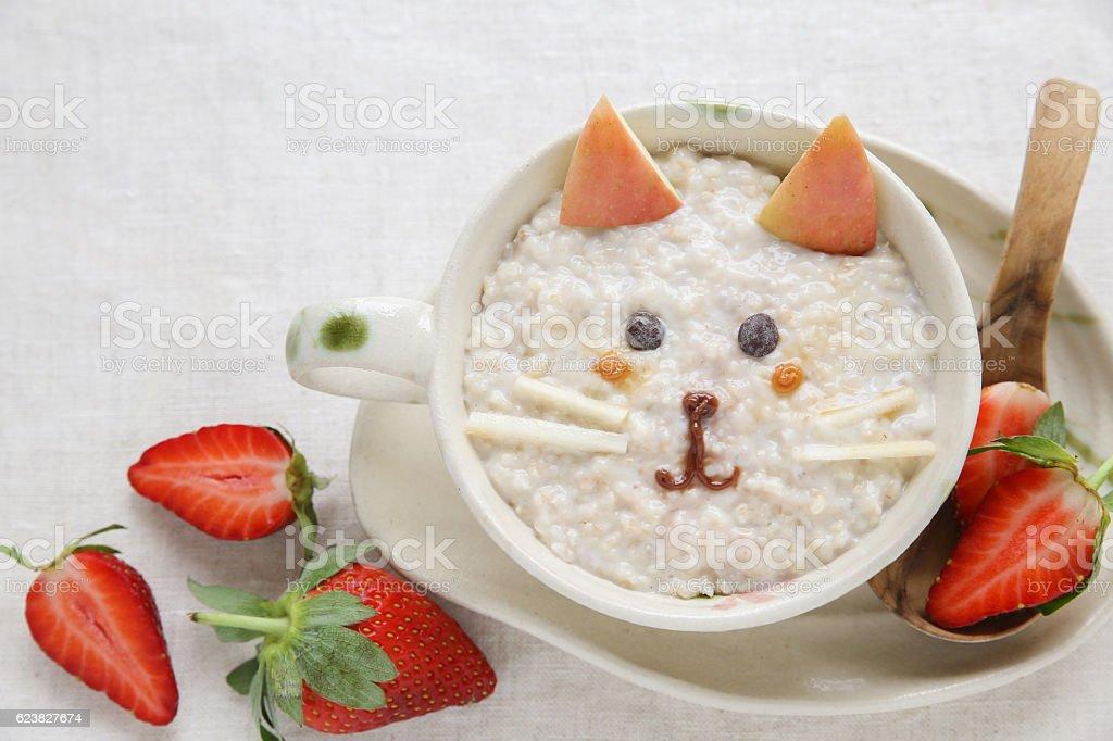 Cat kitten porridge breakfast , food art for kids