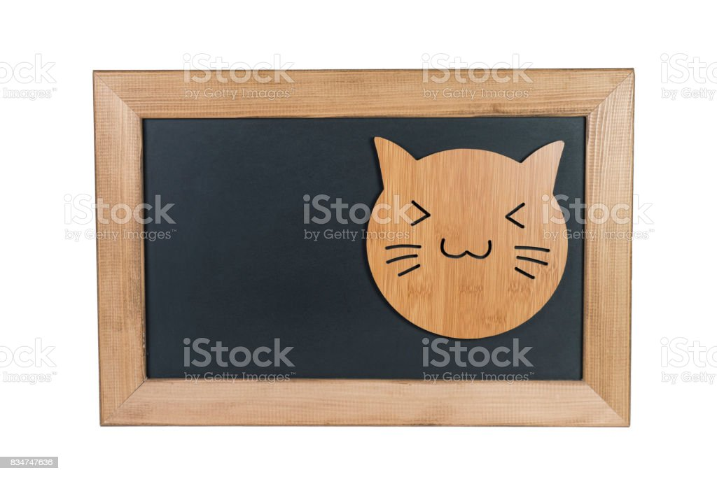 A Cat on Blackboard and a Writing Space , White Background stock photo