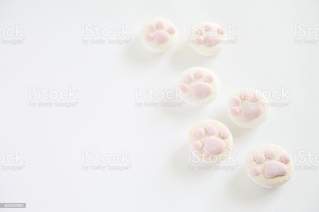 Cat Paw Shaped Marshmallows stock photo
