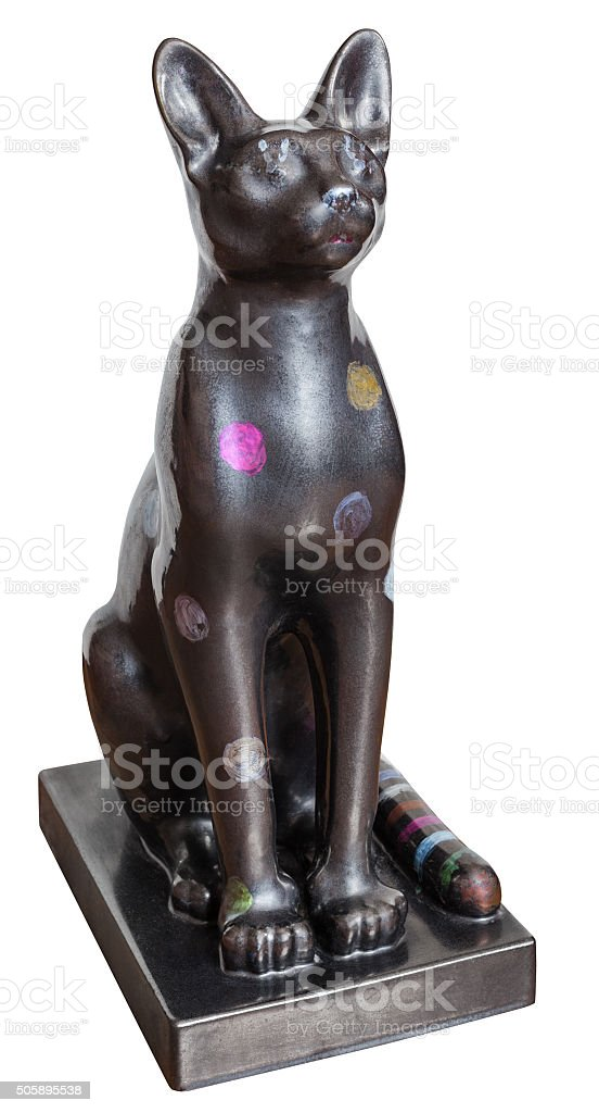 cat statue from Ancient Egypt isolated stock photo