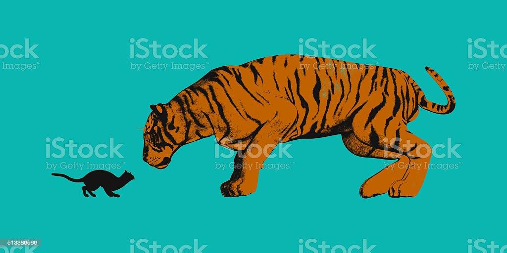 Cat Versus Tiger stock photo