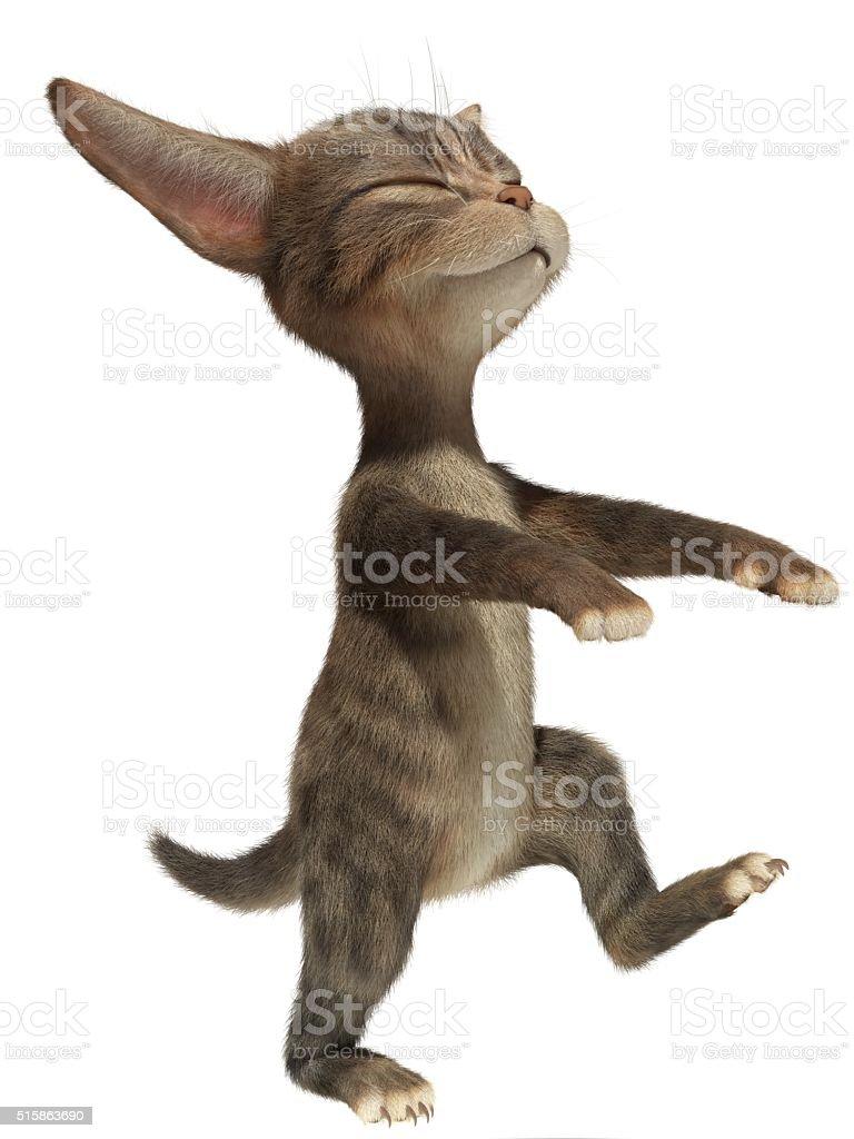 3D cat walks in his sleep like a sleepwalker stock photo