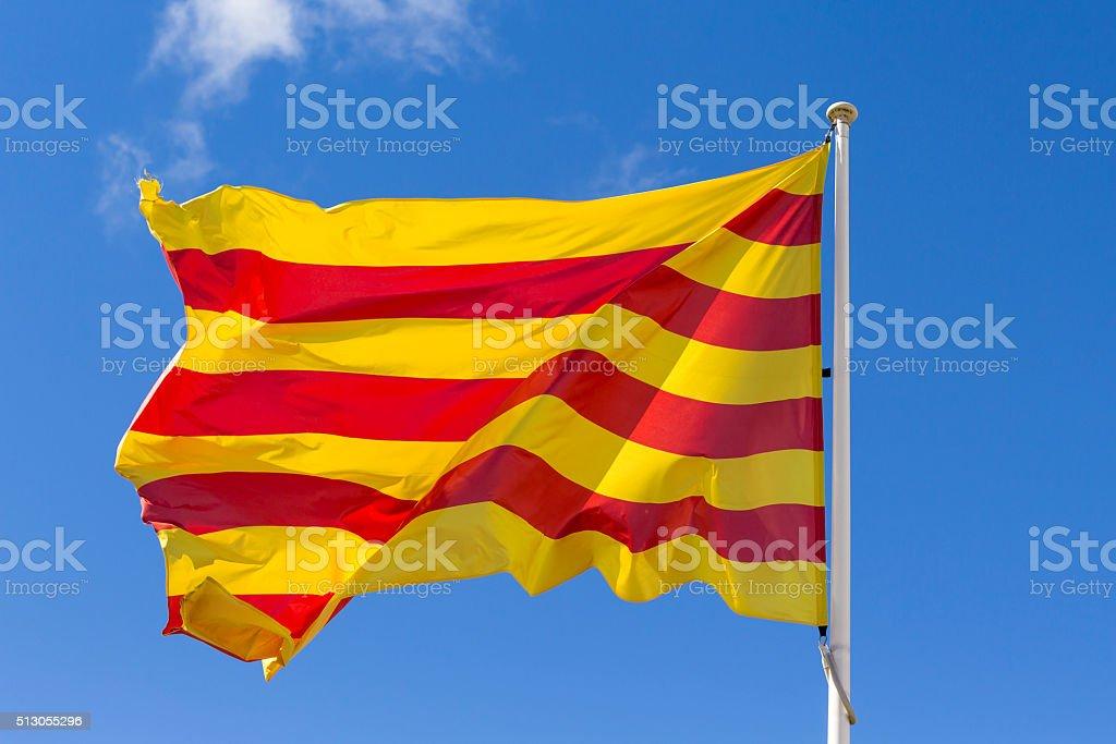 Catalan flag waving stock photo