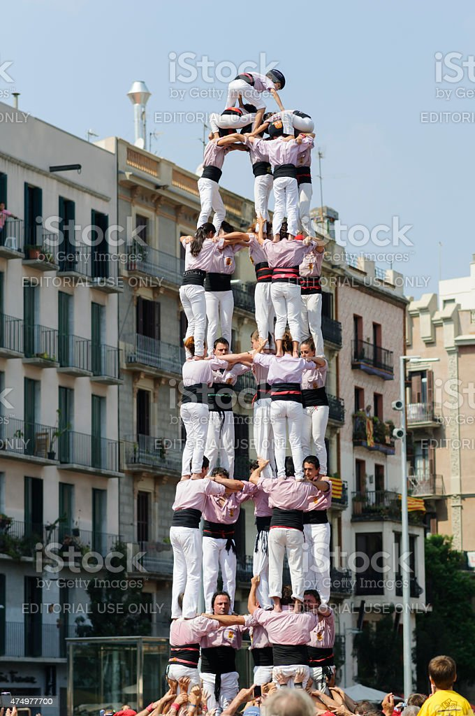 Catalan human towers, Castells stock photo