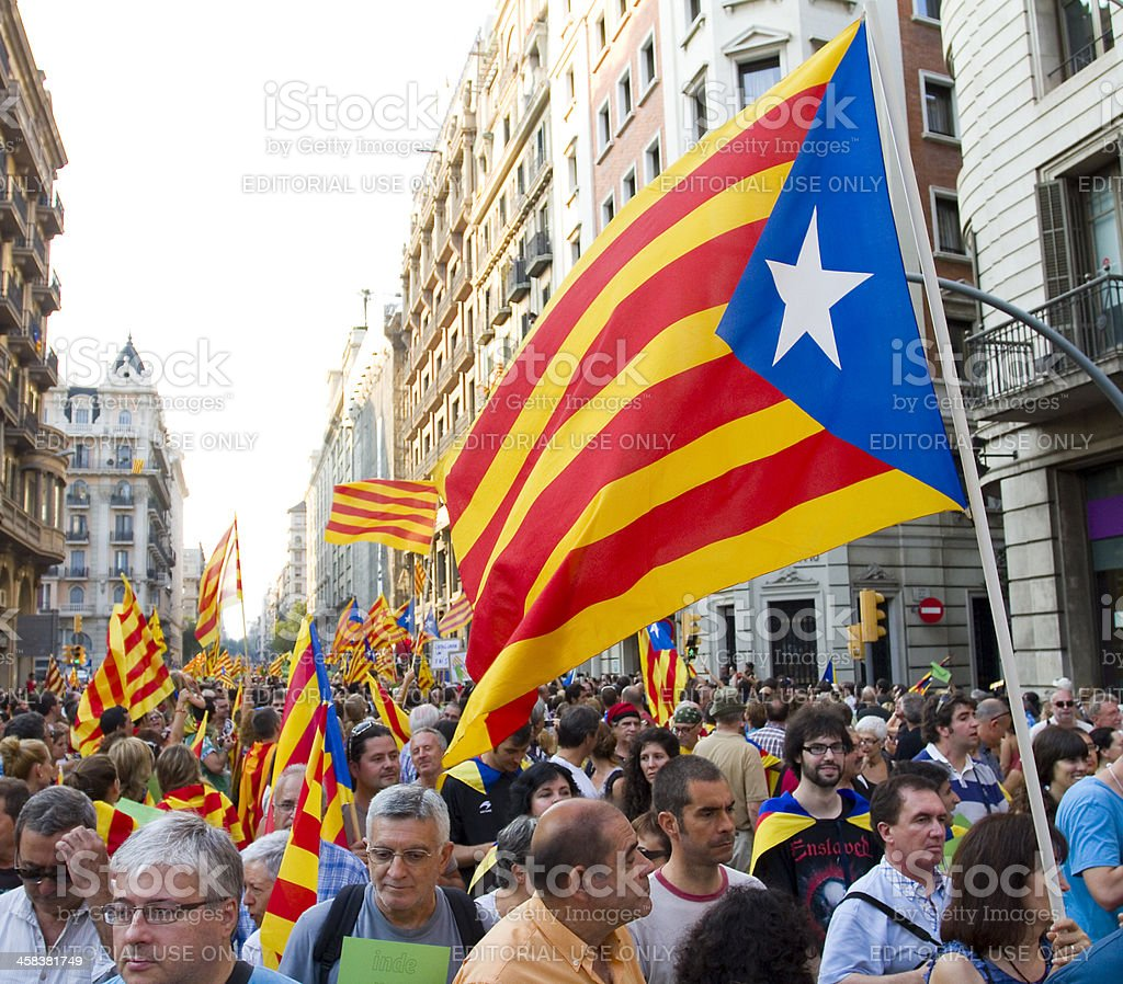 Catalan independence rally stock photo