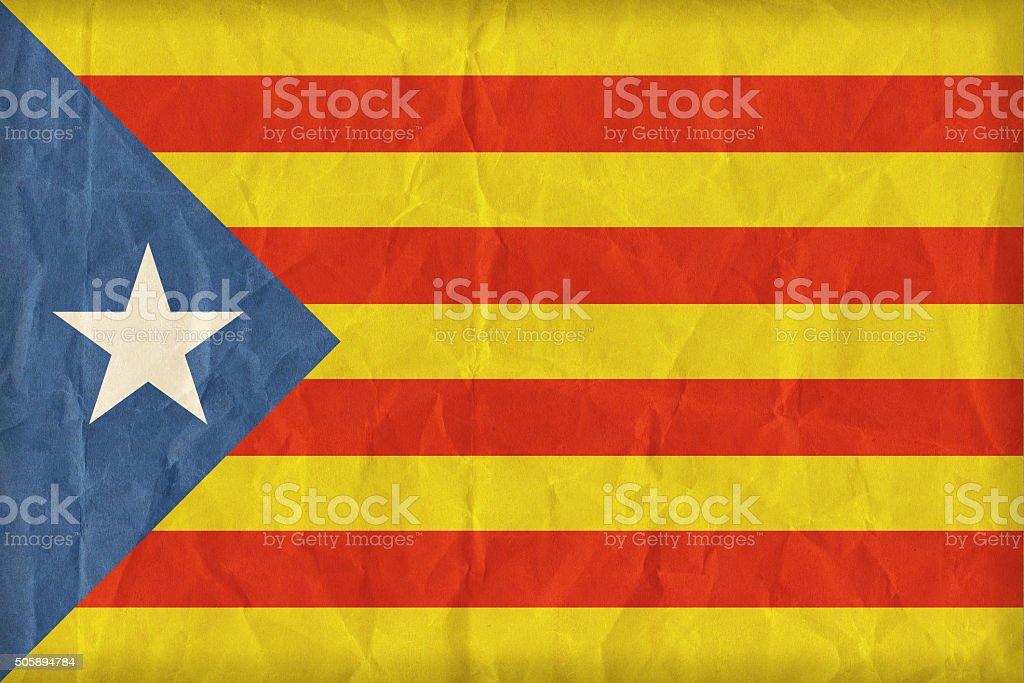 Catalan Independentist blue estelada  flag on paper texture,retr stock photo