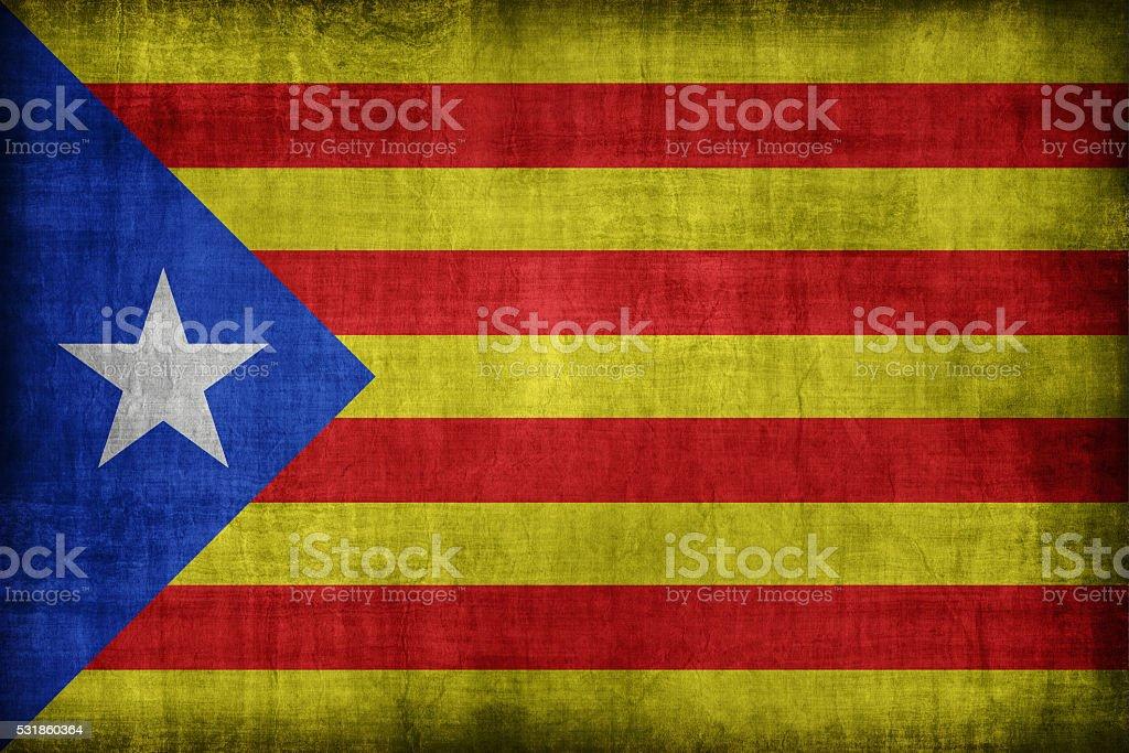 Catalan Independentist blue estelada flag pattern, retro vintage stock photo
