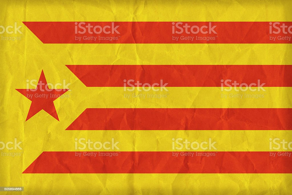 Catalan Socialist Independentist red estelada flag on paper text stock photo