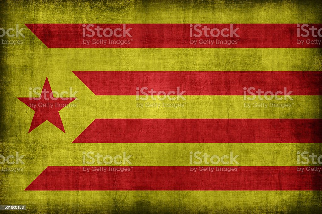 Catalan Socialist Independentist red estelada flag pattern, retr stock photo