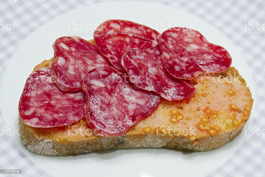 Catalan style tomato rubbed, about the scourge of rural style. royalty-free stock photo