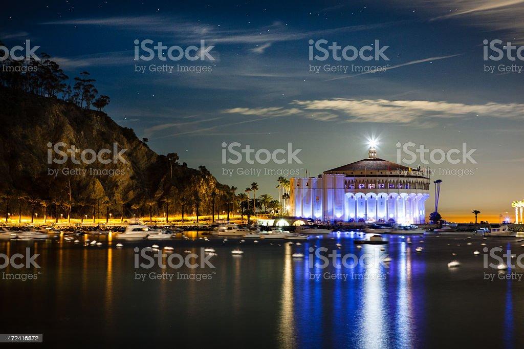 Catalina Casino And Avalon Bay At Night, Catalina Island, California. royalty-free stock photo