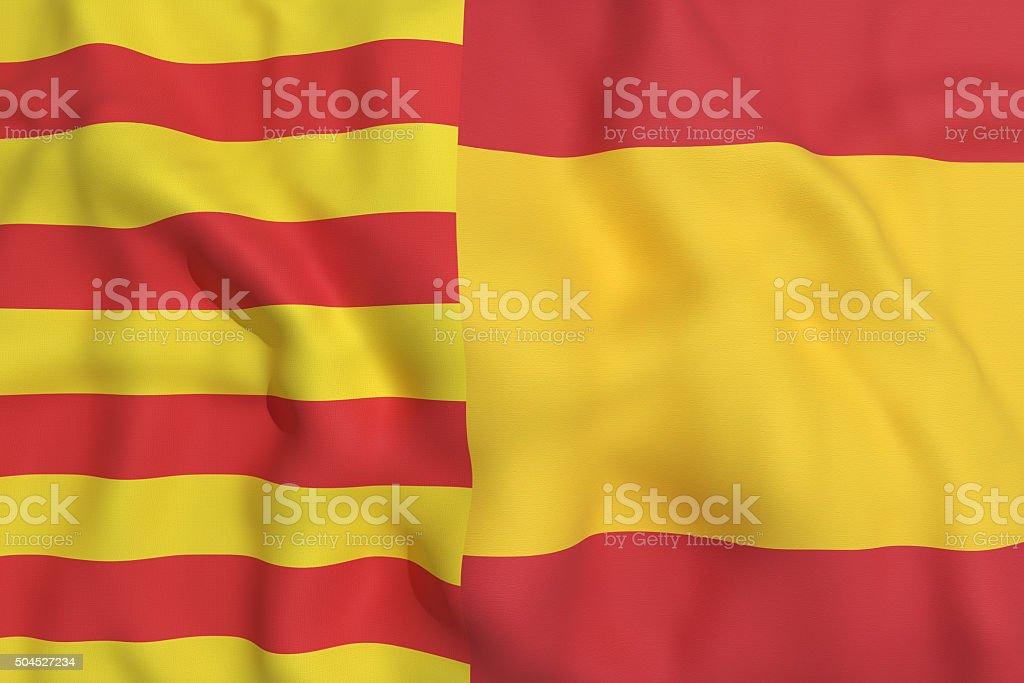 catalonia and spain flag stock photo