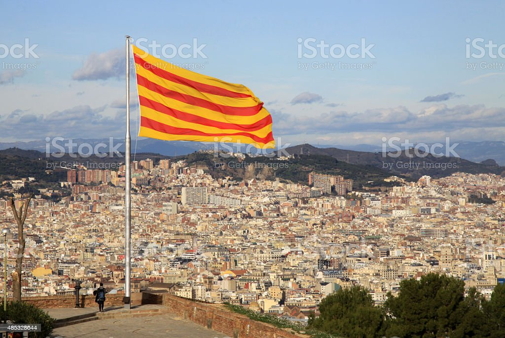 Catalonia flag in Montjuic Castle, Barcelona, Catalonia, Spain stock photo