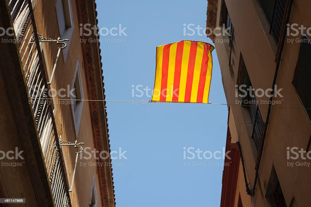 Catalonia flag is waving on the wind stock photo