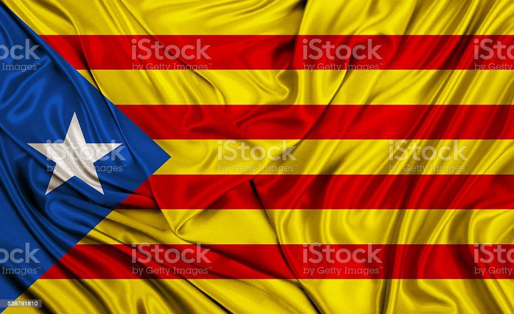 Catalonia flag - L'Estelada - silk texture stock photo