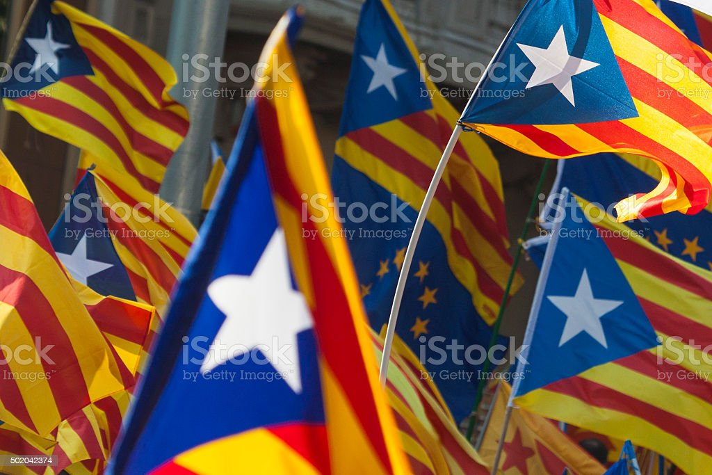 Catalonia independence flags stock photo