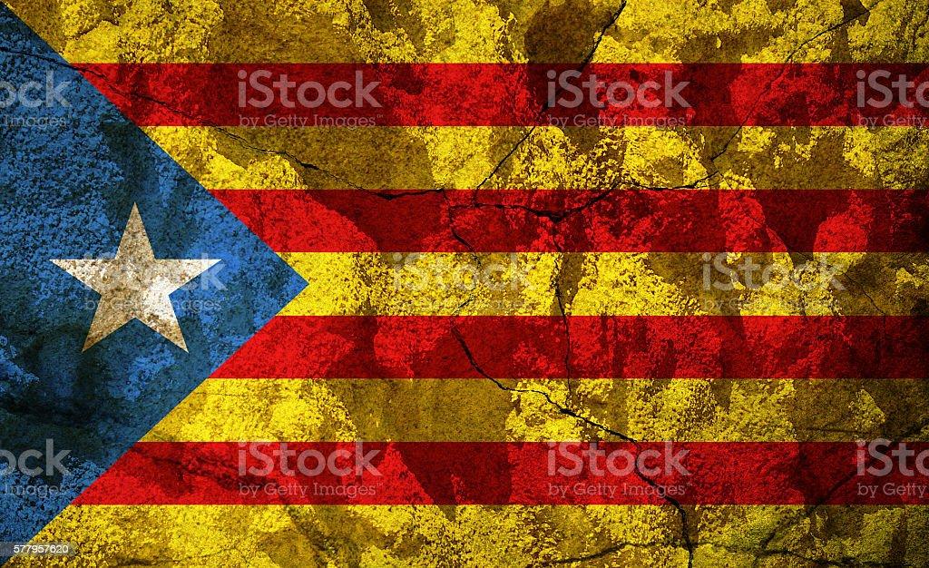 Catalonia - L Estelada flag on stone stock photo