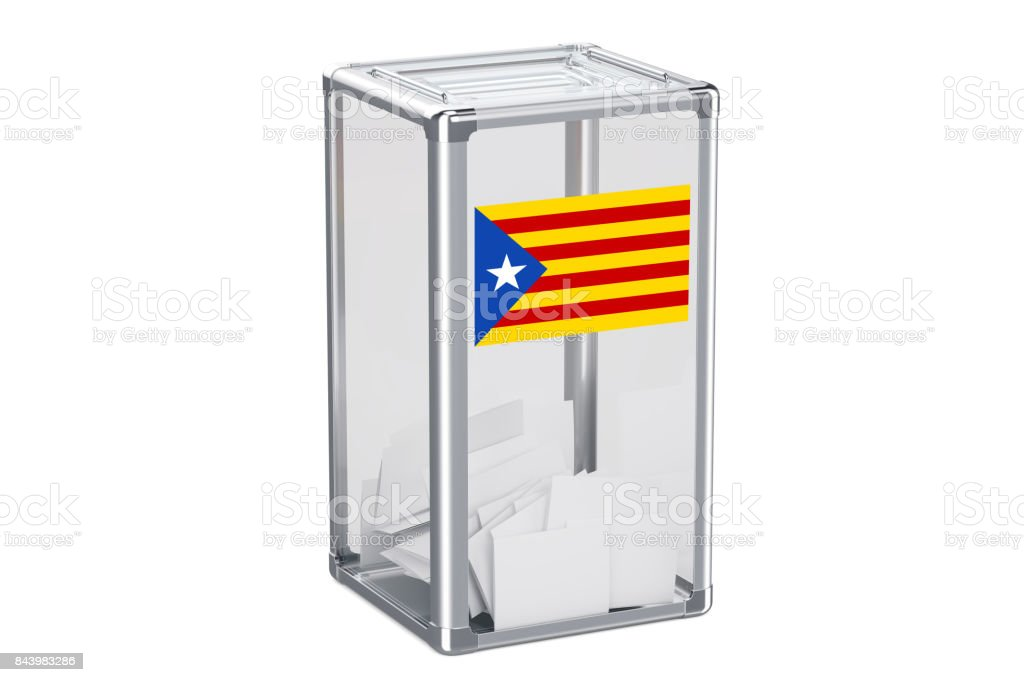 Catalonia referendum concept, ballot box with Catalonian flag. 3D rendering isolated on white background stock photo