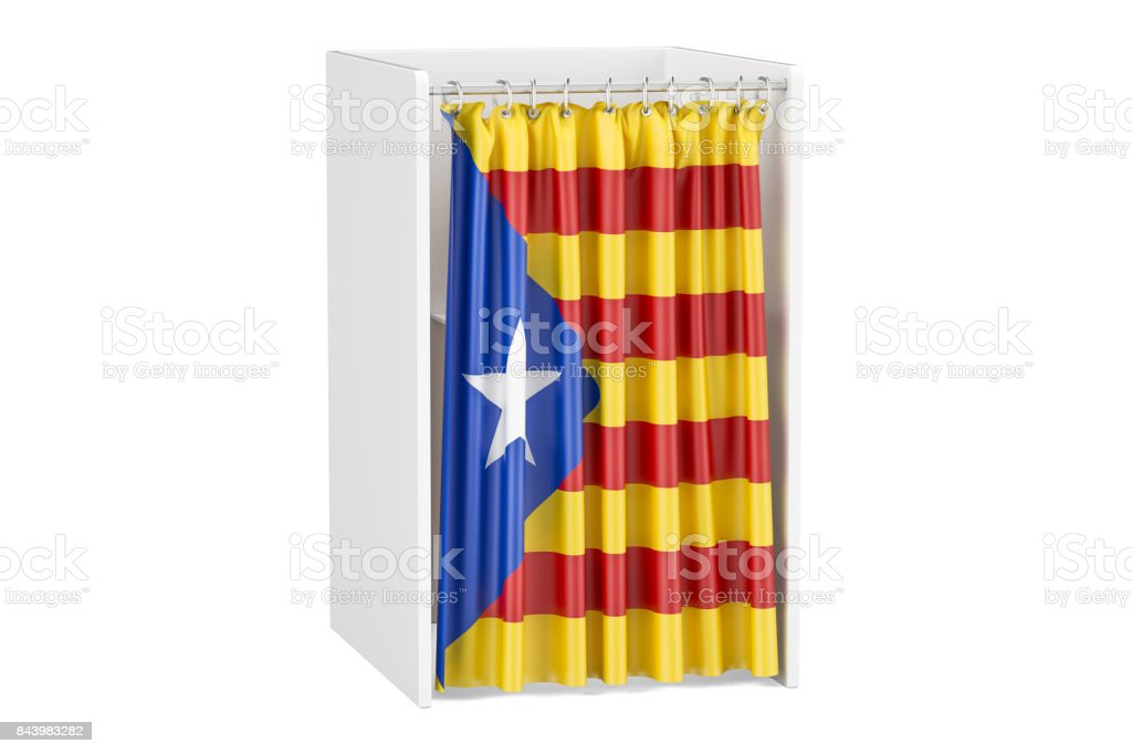 Catalonia referendum concept, voting booth with Catalonian flag. 3D rendering isolated on white background stock photo