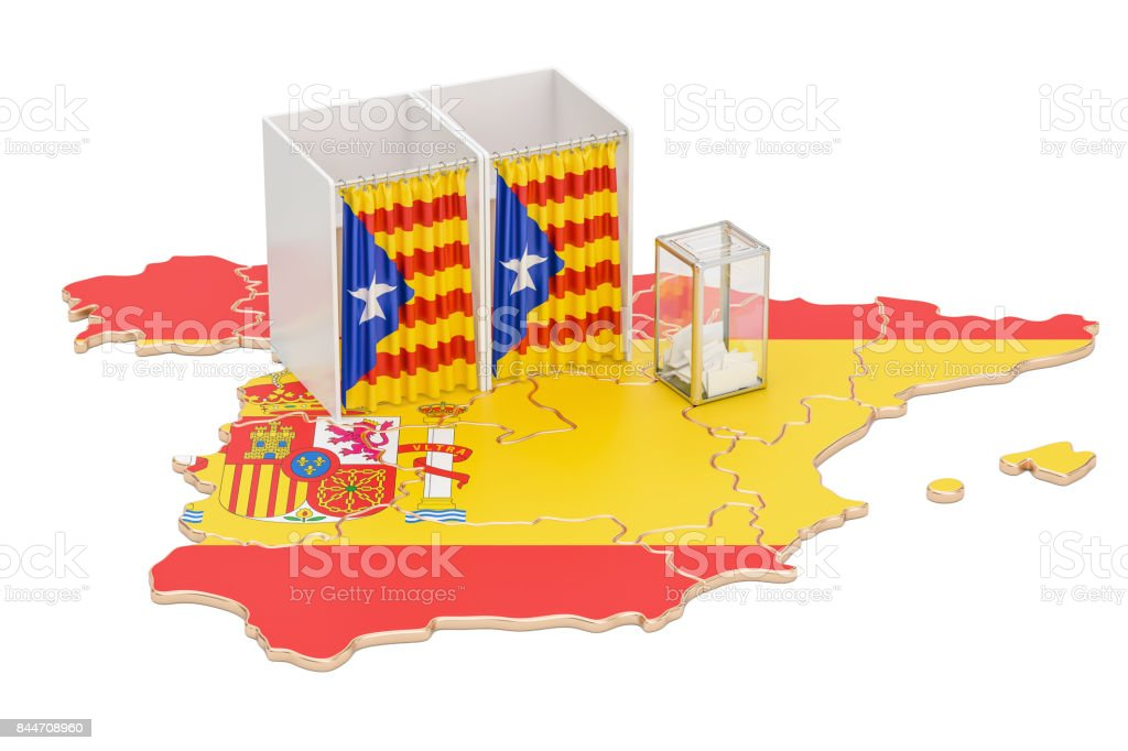 Catalonia referendum concept, voting booths with flag and ballot box on the Catalonian map. 3D rendering isolated on white background stock photo
