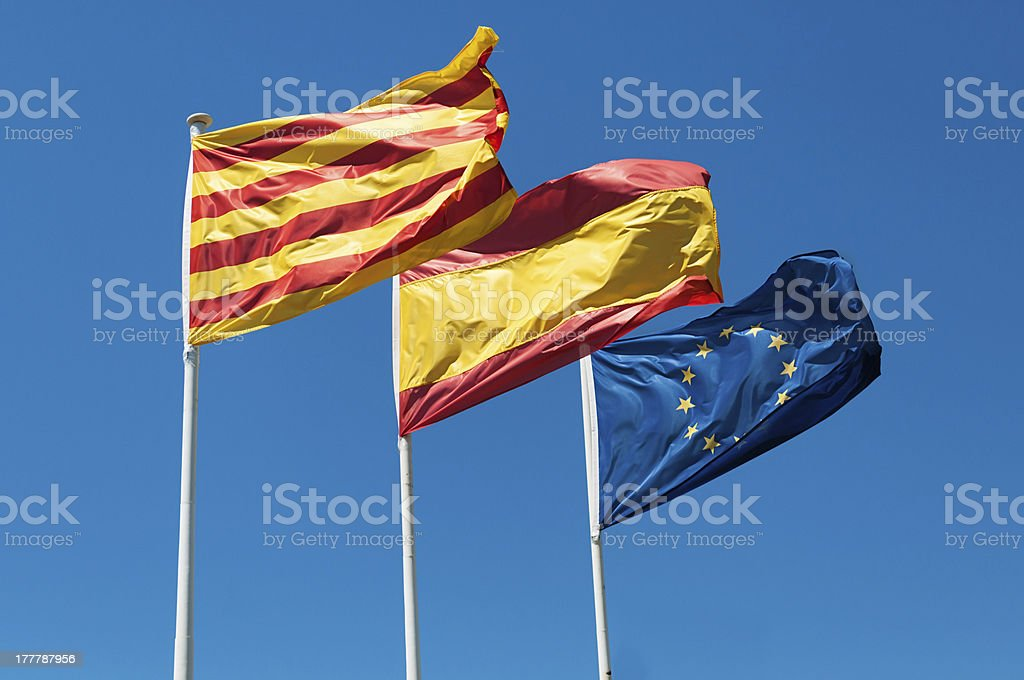 Catalonia Spain and Europe flags royalty-free stock photo