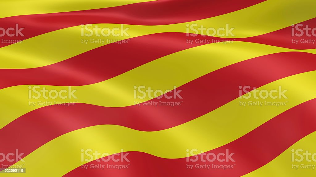 Catalonian flag in the wind stock photo