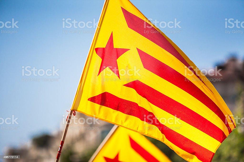 Catalonian flag stock photo
