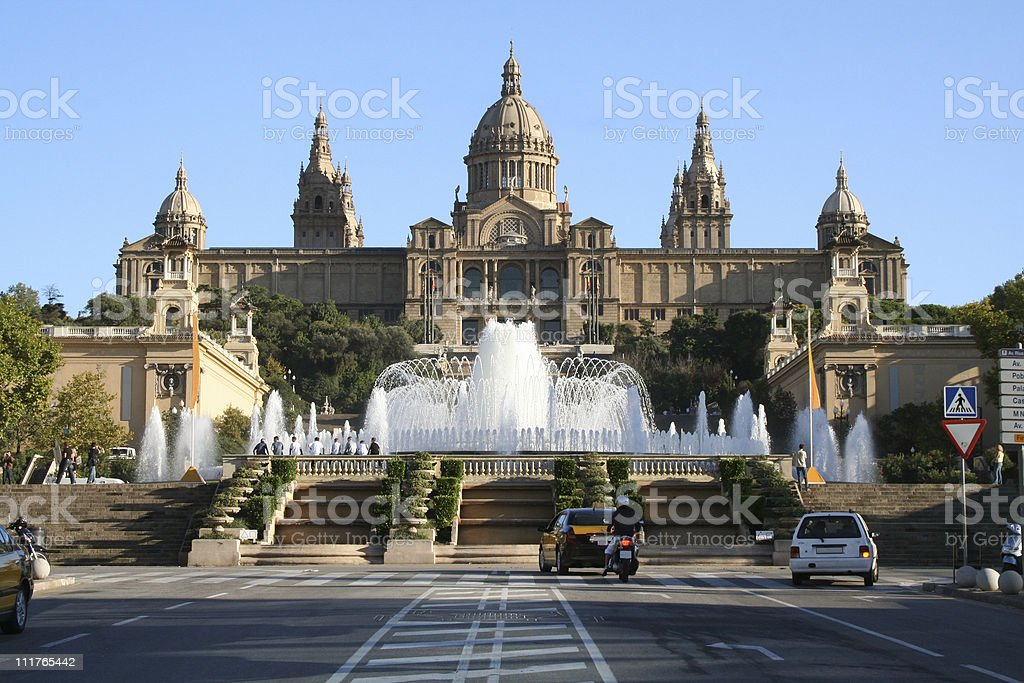Catalonian national museum MNAC and Magic Fountain in Barcelona stock photo