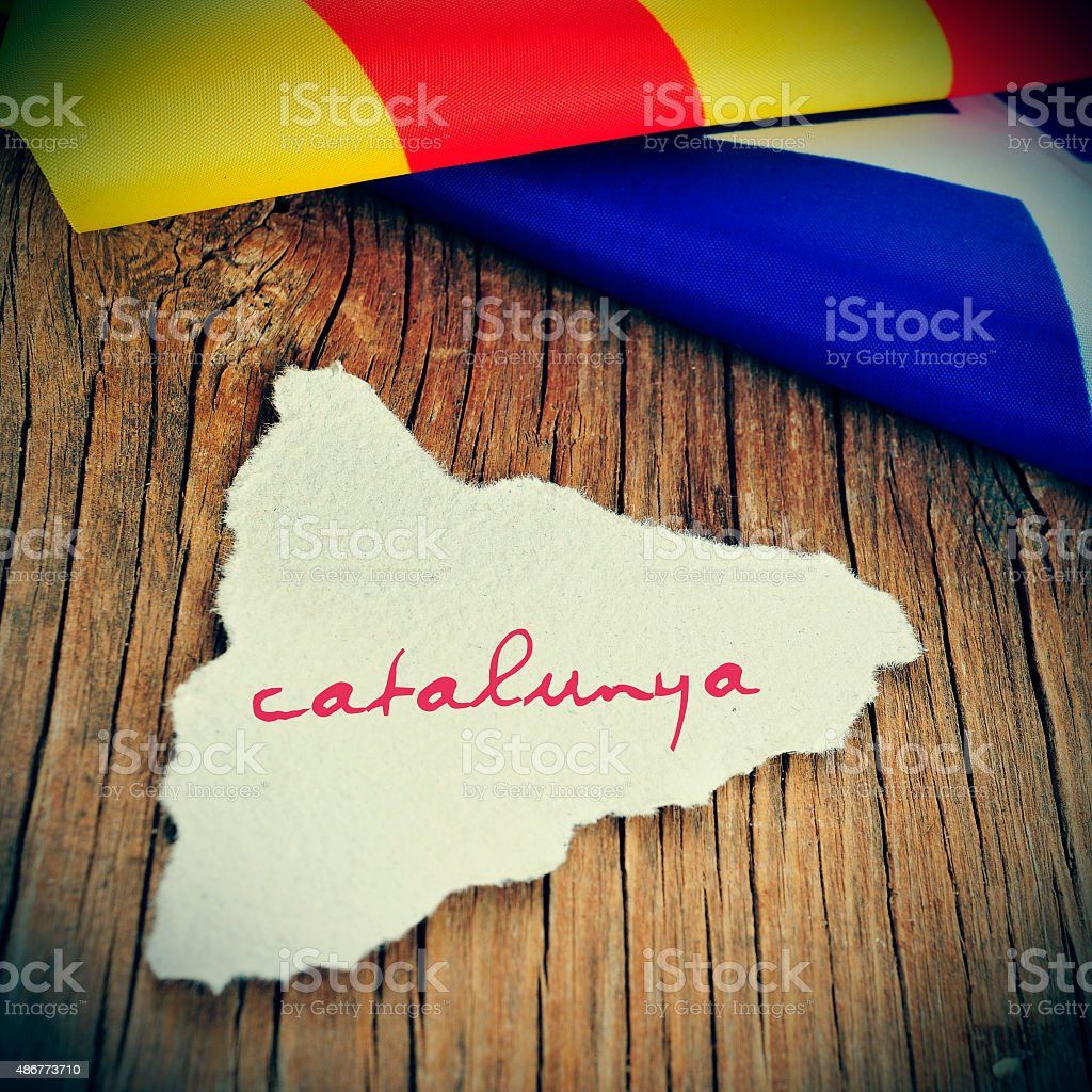 catalunya, catalonia written in catalan in a piece of paper stock photo