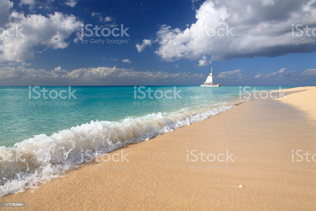 catamaran and beautiful shoreline stock photo