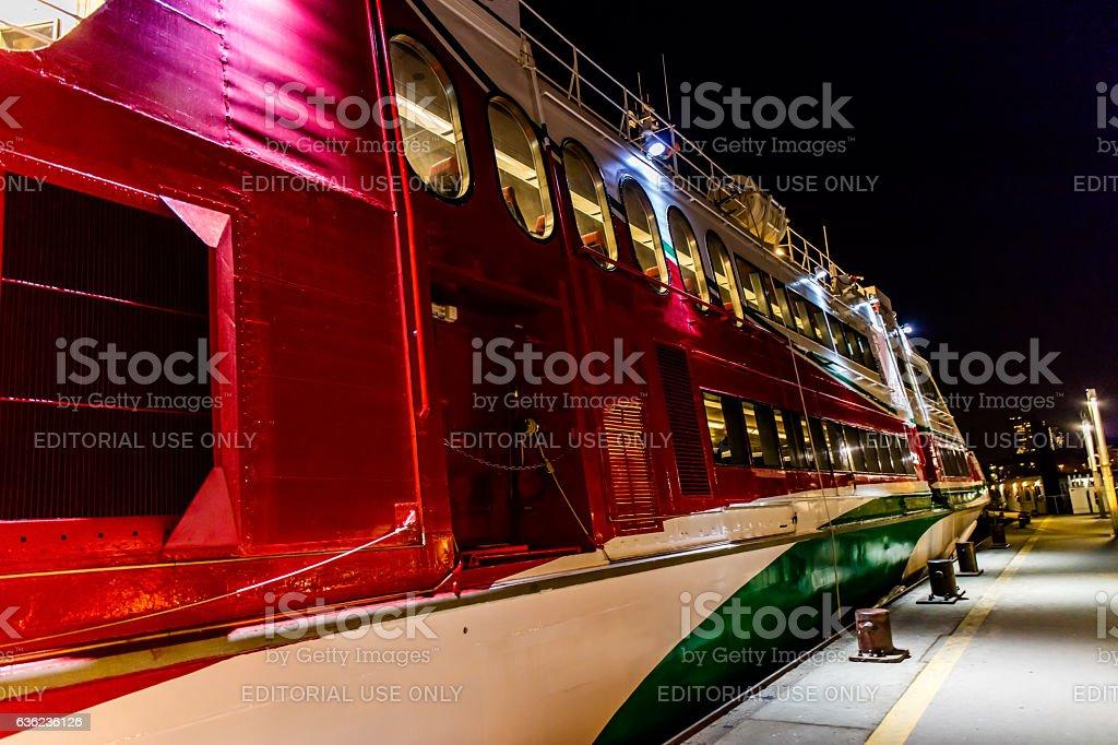 Catamaran at Hamburg harbor pier stock photo