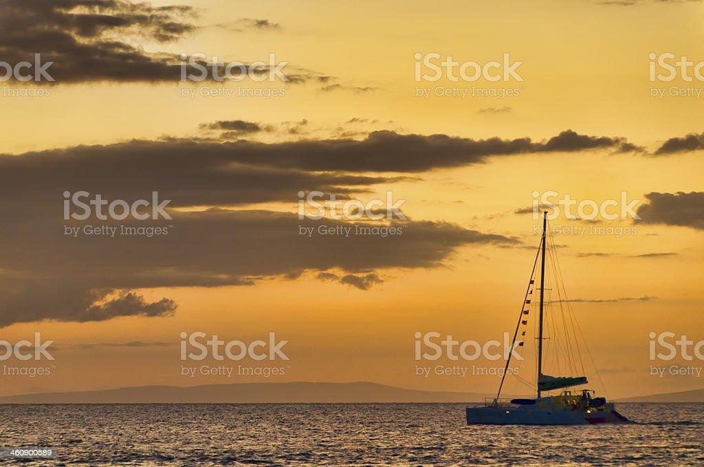 Catamaran at sea on Maui, Hawaii, USA stock photo